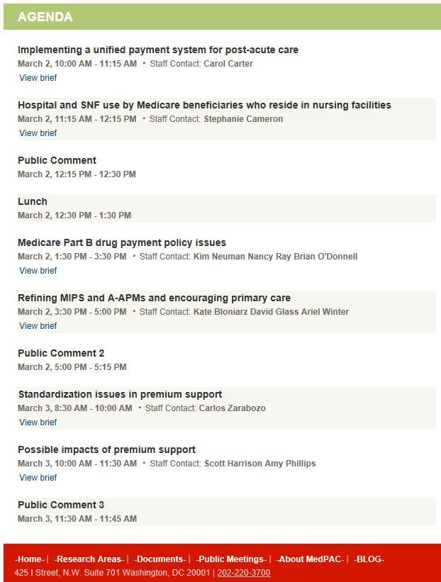 MedPac Meeting Agenda March 2-3, 2017
