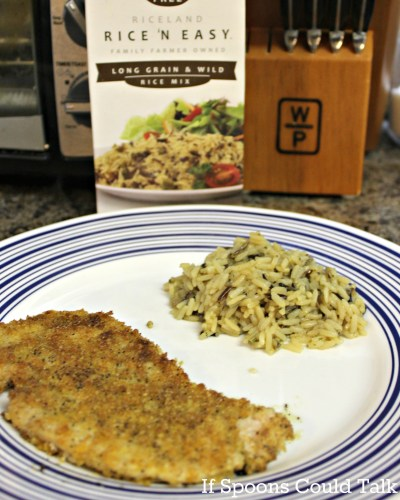Riceland's new Rice N' Easy Mix is delicious and easy to cook up. Serve along with pan fried pork chops and you have the perfect weeknight meal.