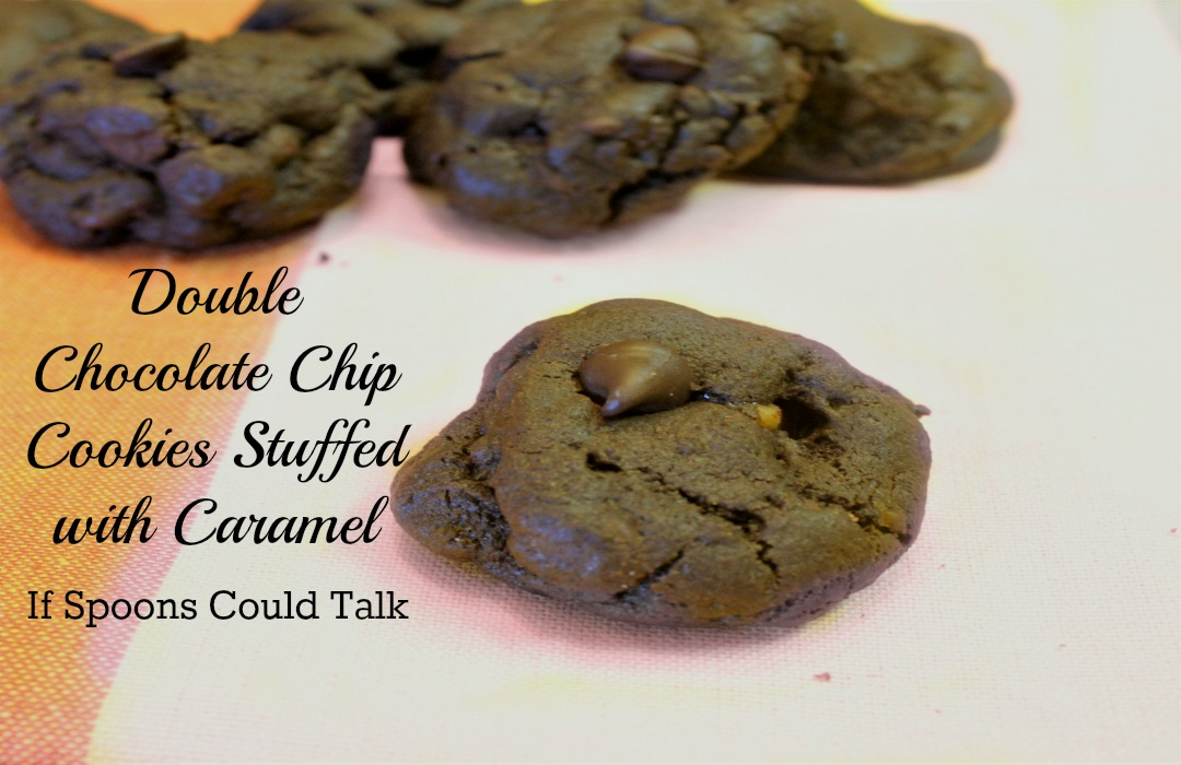 Double Chocolate Chip Caramel Stuffed Cookies