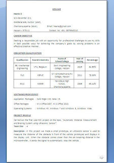 Mechanical Engineering Student Skills Resume In Word Format