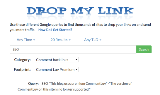 find comment links by dropmylink