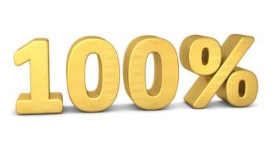 100 prozent symbol 3d gold