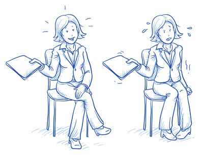 Business woman sitting on chair with e.g. application document in her hand in two emotions, confident and nervous, hand drawn doodle vector illustration