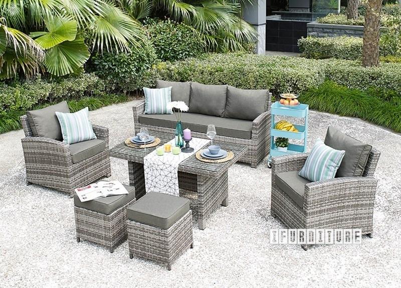 valencia 6 pc patio sofa and dining set aluminum frame