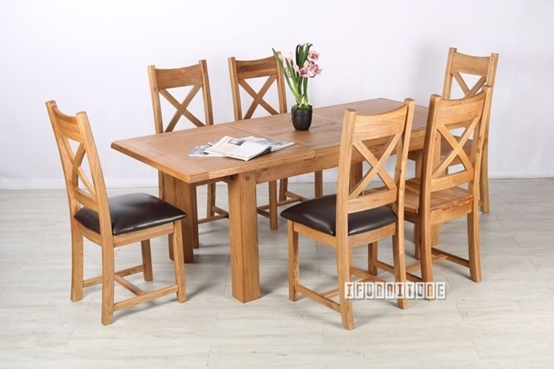 westminster 7pc 150 200 extension dining set solid oak