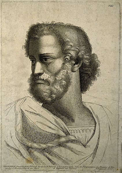 Aristotle._Line_engraving_by_P._Fidanza_after_Raphael_Sanzio_Wellcome_V0000205