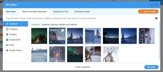 Die eigene Homepage: Der Datei-Import aus sozialen Netzwerken