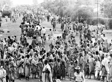 1973 - People in Wollo Province await humanitarian aid during the 1973-74 famine Getty Images