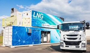 小型LNG充填設備と大型LNGトラック