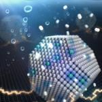 過電圧が加えられた白金―タングステン固溶合金ナノ粒子から、水素ガスが発生するイメージ図