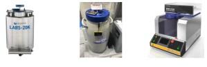(左)細胞保管用凍結保存容器、(中)ドライシッパー・温度ロガー、(右)リークテスト装置