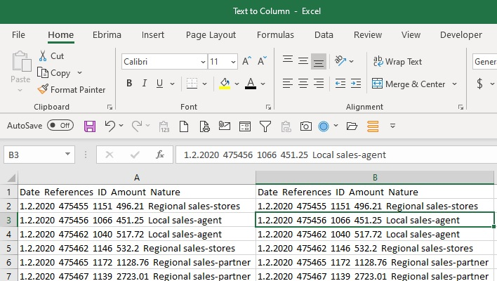 Excel text to column