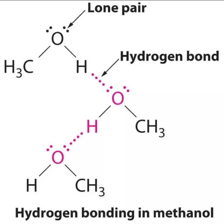 methanol forming hydrogen bonding with itself