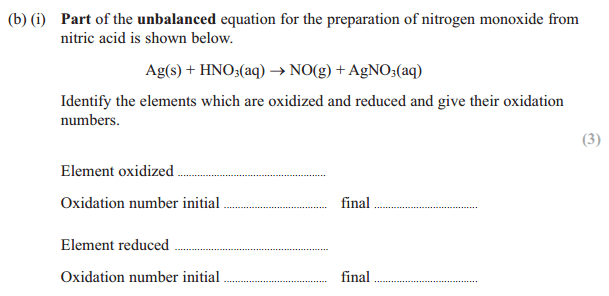 finding oxidation number question in IAl unit 2 exam