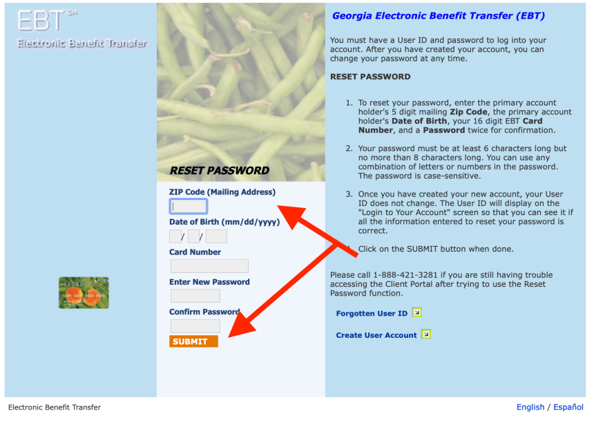 Forgot Georgia EBT online account Password