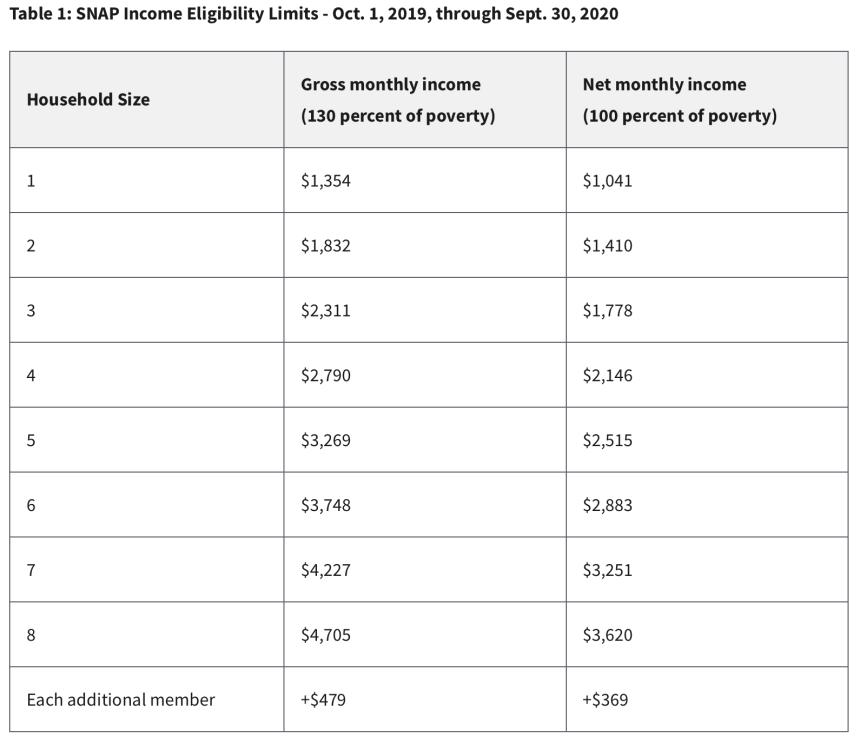 Georgia SNAP Income Eligibility Chart 2020