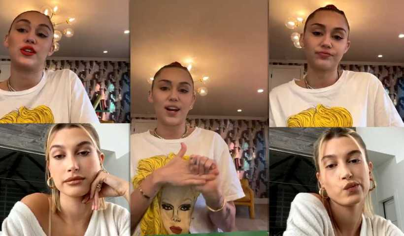 Miley Cyrus #BrightMinded Instagram Live Stream with Hailey Baldwin-Bieber from March 20th 2020.