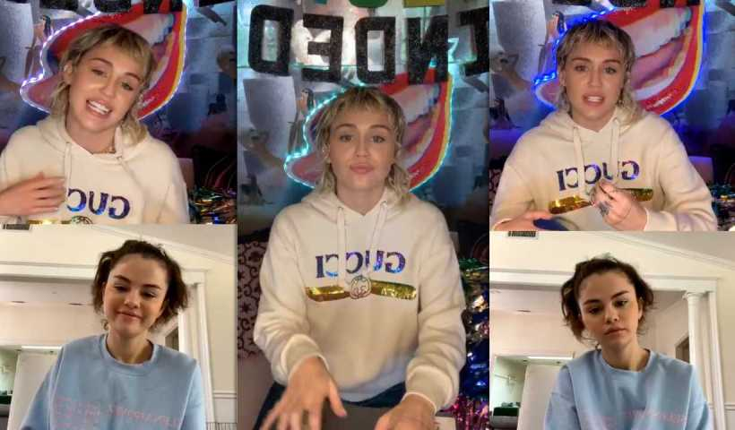 Miley Cyrus #BrightMinded Instagram Live Stream with Selena Gomez from April 3rd 2020.