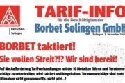 Aufruf zum Warnstreik bei der Borbet Solingen GmbH!