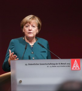 Angela Merkel auf dem Gewerkschaftstag der IG Metall