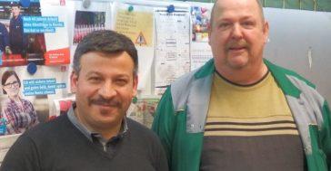 Betriebsratsvorsitzender Sadi Demir und Betriebsrat Herbert Uppendahl (v.l.n.r) Foto: IGM-Archiv EN-R-W
