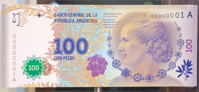 billete 100 pesos evita