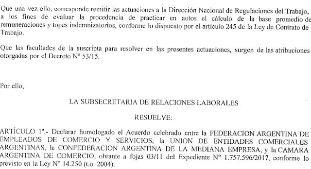 Mediante la resolución 95/17, el Ministerio de Trabajo homologó  el acuerdo abril 2017.