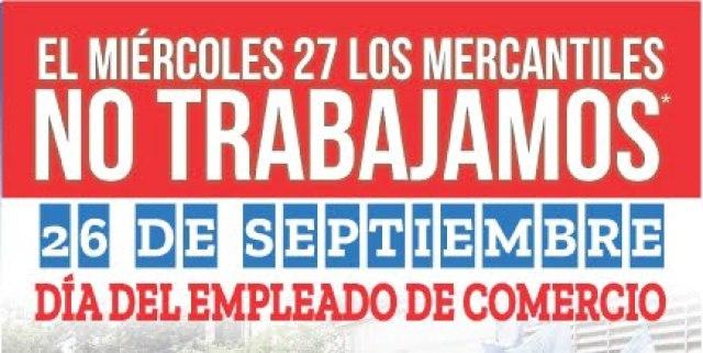Rosario: El miércoles 27 es feriado para todos los Empleados de Comercio