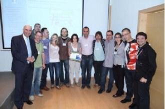 Con la Junta Directiva de Proeso en la entrega del Premio de MEP a la Iniciativa Educativa por el concierto Cheste 2011, Fundación Bancaja de Valencia, mayo de 2001