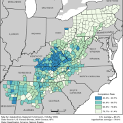 High School Completion Rates in Appalachia by County (2000)
