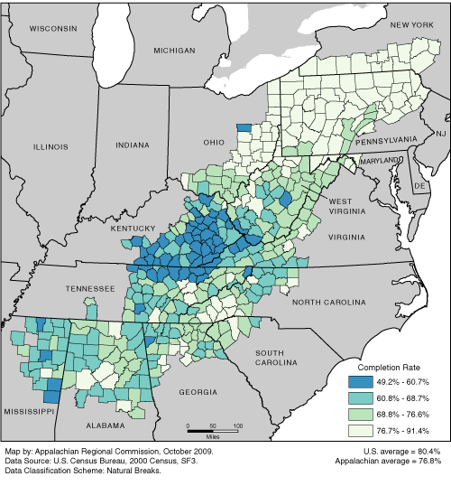 High School Completion Rates in Appalachia by County