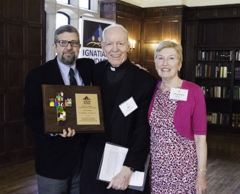 Kevin O'Brien and Charlotte Mahoney (ISN Board of Directors) with Fr. Jim Connor, S.J.