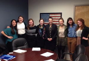Rockhurst University students in advocacy meeting with Sen. McCaskill's staff