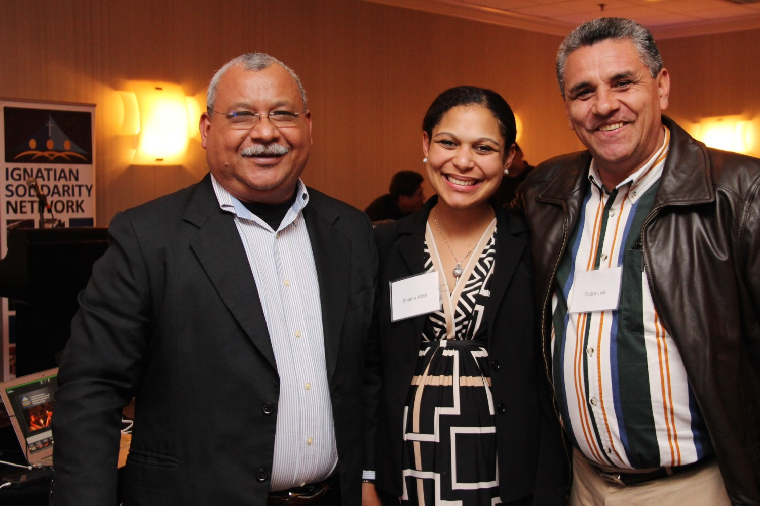 Padre Melo with Shaina Aber, and Padre Luis, pastor of Mia Madre parish in San Salvador, El Salvador.