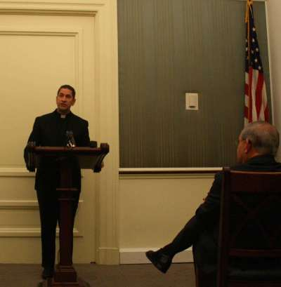 Fr. Kesicki speaking at the Capitol Hill press conference.