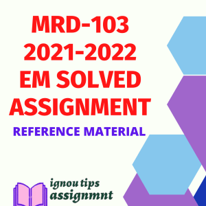 MRD-103 (PGDRD) Rural Development – Planning and Management in English SOLVED ASSIGNMENT 2021