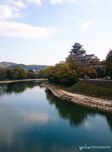 Castello di Okayama, visto dal fiume Asahi. Okayama.