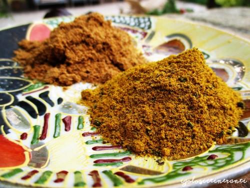 Due diversi tipi di curry, primo piano