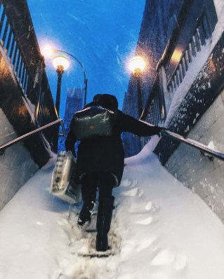 Subway stations were buried under the snow.
