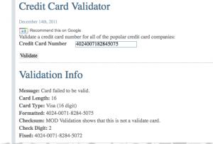 Credit Card Validation Screen Shot