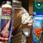 Aerosol can of a disgusting odor (Shrimp Scent) disguised as Glade ™ Tropical Mist.