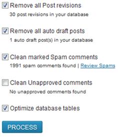 выбор настроек плагина WP Optimize для очистки и оптимизаии базы данных
