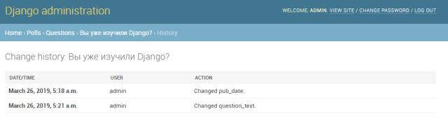 История изменений записи в Django Admin