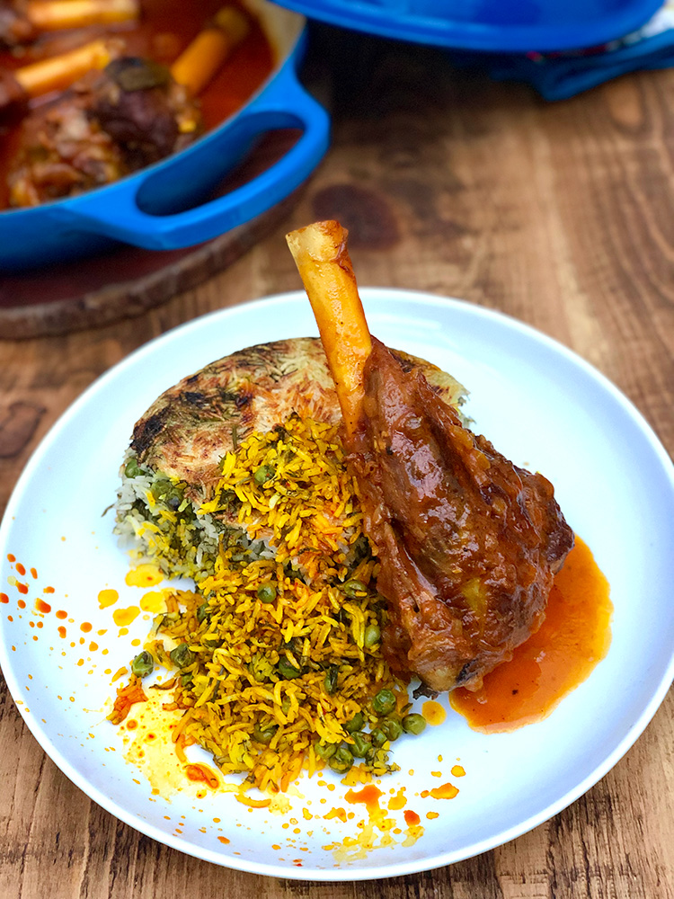 Nokhod Polo ba Mahiche | Persian lamb shanks with peas and dill rice | igotitfrommymaman.com