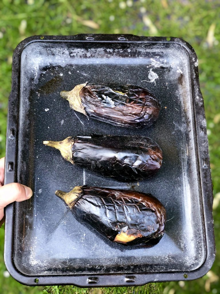 Smoking aubergines for Mirza Ghasemi | igotitfrommymaman.com