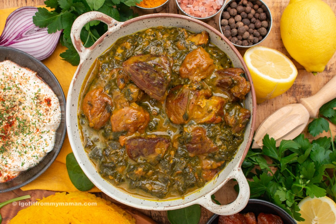 Khoresh-e Aloo Esfenaj Recipe - Golden Sour Prune and Spinach Stew - igotitfrommymaman.com #persianfood #persianrecipes