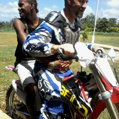 Moto Evangelism-Penama Province Day-We were invited to do a Moto Show, Dave gave rides, and shared his testimony