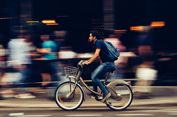 A man riding on a bike