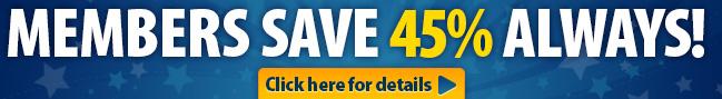 members save 45% always banner