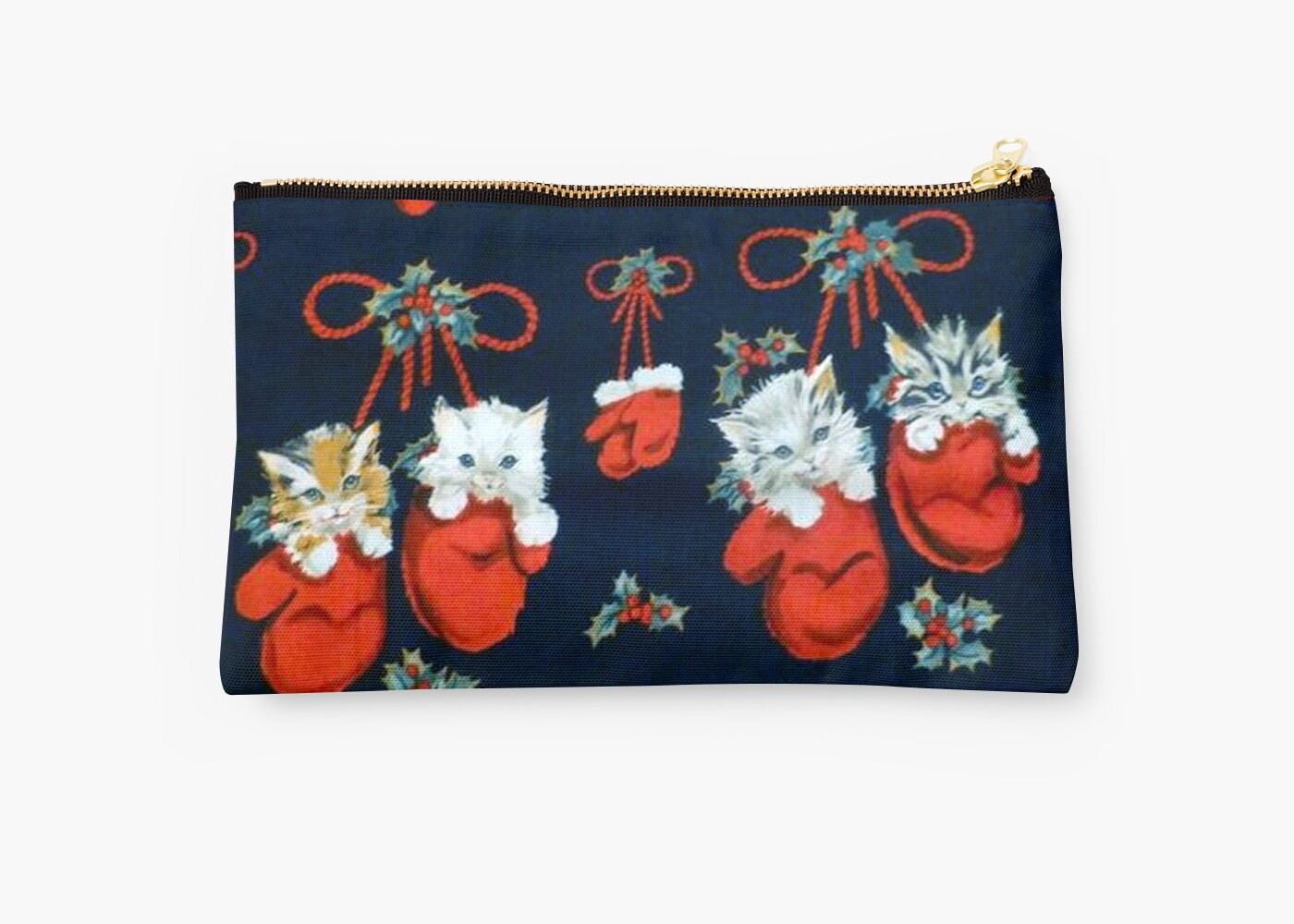 Cute Christmas Kittens In Mittens Studio Pouches By